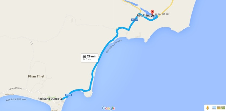 Distance from Red sand dunes to White sand dunes
